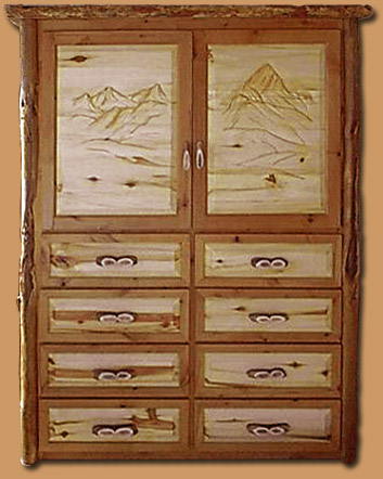 Horn Mountain Living - Hand Carved Armoire