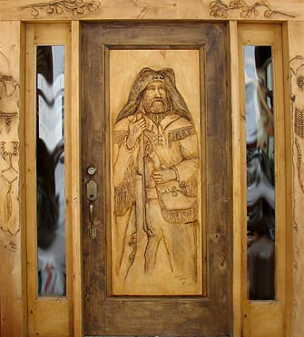 Horn Mountain Living - Mountain Man Carved Door
