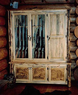 Large Hand Carved Gun Cabinets